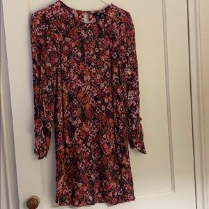 H&M red & pink long sleeve floral dress